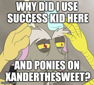 What? | WHY DID I USE SUCCESS KID HERE AND PONIES ON XANDERTHESWEET? | image tagged in memes,xanderbrony,xanderthesweet,ponies | made w/ Imgflip meme maker