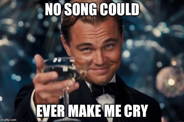 Leonardo Dicaprio Cheers Meme | NO SONG COULD EVER MAKE ME CRY | image tagged in memes,leonardo dicaprio cheers | made w/ Imgflip meme maker