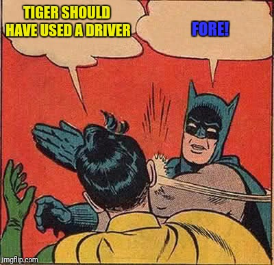 Batman Slapping Robin Meme | TIGER SHOULD HAVE USED A DRIVER FORE! | image tagged in memes,batman slapping robin | made w/ Imgflip meme maker