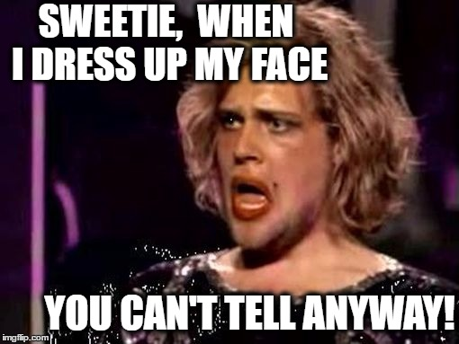 SWEETIE,  WHEN I DRESS UP MY FACE YOU CAN'T TELL ANYWAY! | made w/ Imgflip meme maker