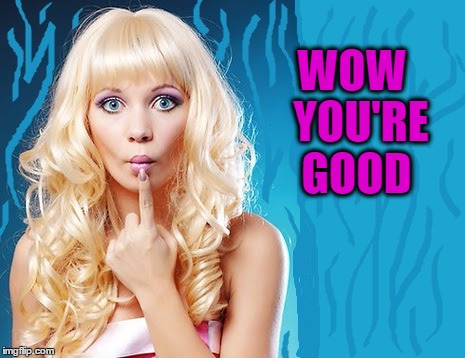 ditzy blonde | WOW  YOU'RE GOOD | image tagged in ditzy blonde | made w/ Imgflip meme maker