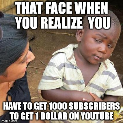 Third World Skeptical Kid Meme | THAT FACE WHEN YOU REALIZE  YOU HAVE TO GET 1000 SUBSCRIBERS TO GET 1 DOLLAR ON YOUTUBE | image tagged in memes,third world skeptical kid | made w/ Imgflip meme maker