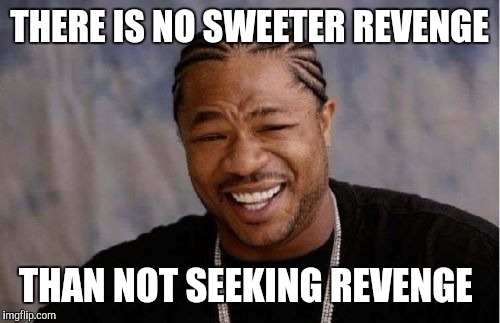 Yo Dawg Heard You Meme | THERE IS NO SWEETER REVENGE THAN NOT SEEKING REVENGE | image tagged in memes,yo dawg heard you | made w/ Imgflip meme maker