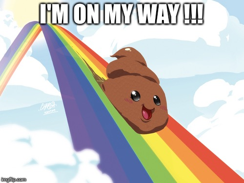 Poop on Rainbow | I'M ON MY WAY !!! | image tagged in poop on rainbow | made w/ Imgflip meme maker