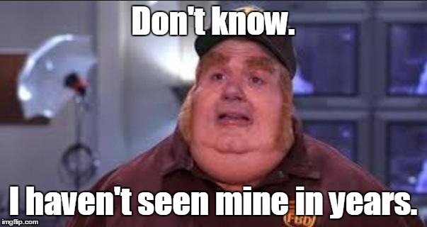 Fat | Don't know. I haven't seen mine in years. | image tagged in fat | made w/ Imgflip meme maker