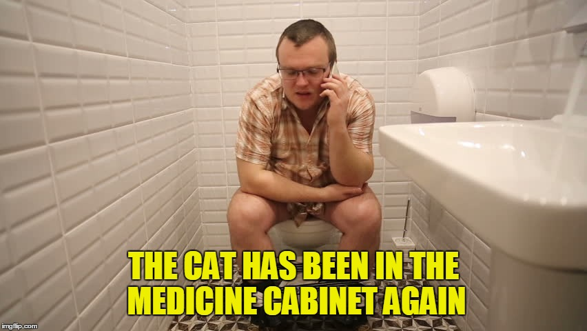 THE CAT HAS BEEN IN THE MEDICINE CABINET AGAIN | made w/ Imgflip meme maker