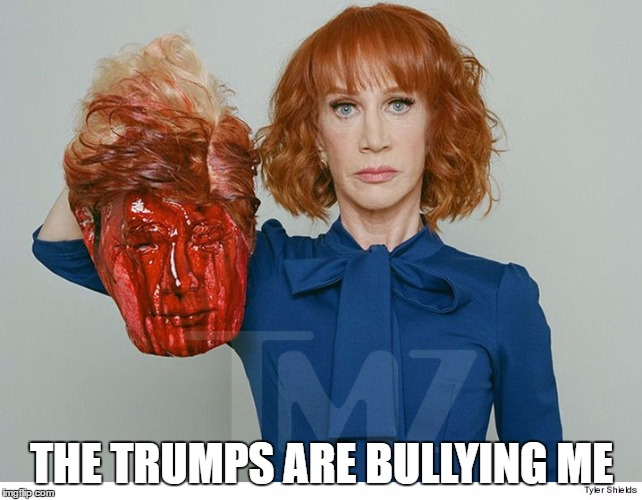 Stupid Liberal | THE TRUMPS ARE BULLYING ME | image tagged in kathy griffin | made w/ Imgflip meme maker