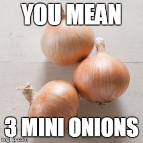 YOU MEAN 3 MINI ONIONS | made w/ Imgflip meme maker