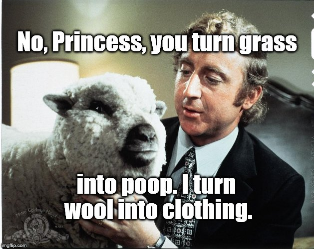 Baaa | No, Princess, you turn grass into poop. I turn wool into clothing. | image tagged in baaa | made w/ Imgflip meme maker