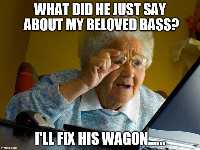 Grandma Finds The Internet Meme | WHAT DID HE JUST SAY ABOUT MY BELOVED BASS? I'LL FIX HIS WAGON...... | image tagged in memes,grandma finds the internet | made w/ Imgflip meme maker