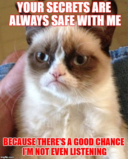 Grumpy Cat | YOUR SECRETS ARE ALWAYS SAFE WITH ME BECAUSE THERE'S A GOOD CHANCE I'M NOT EVEN LISTENING | image tagged in memes,grumpy cat,secrets,not listening,google images,craziness_all_the_way | made w/ Imgflip meme maker