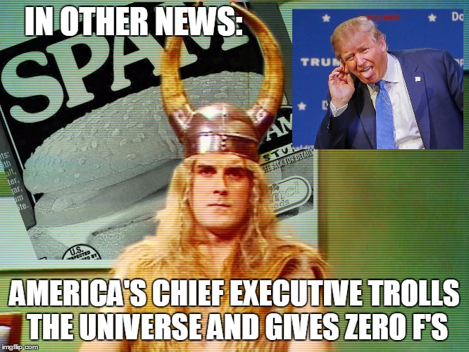 Monty Python Spam | IN OTHER NEWS: AMERICA'S CHIEF EXECUTIVE TROLLS THE UNIVERSE AND GIVES ZERO F'S | image tagged in monty python spam | made w/ Imgflip meme maker
