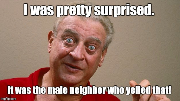 Rodney Dangerfield  | I was pretty surprised. It was the male neighbor who yelled that! | image tagged in rodney dangerfield | made w/ Imgflip meme maker