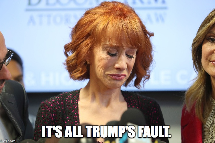 IT'S ALL TRUMP'S FAULT. | image tagged in kathy griffin,trump | made w/ Imgflip meme maker