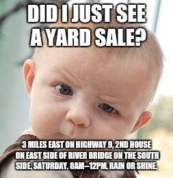 Skeptical Baby Meme | DID I JUST SEE A YARD SALE? 3 MILES EAST ON HIGHWAY 9, 2ND HOUSE ON EAST SIDE OF RIVER BRIDGE ON THE SOUTH SIDE. SATURDAY. 8AM--12PM. RAIN O | image tagged in memes,skeptical baby | made w/ Imgflip meme maker