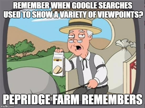pepridge farm rembers | REMEMBER WHEN GOOGLE SEARCHES USED TO SHOW A VARIETY OF VIEWPOINTS? PEPRIDGE FARM REMEMBERS | image tagged in pepridge farm rembers | made w/ Imgflip meme maker