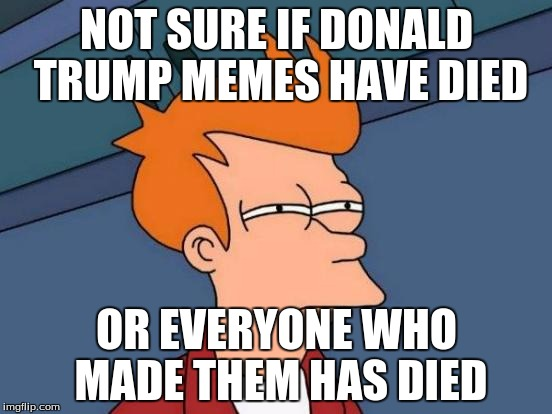 Futurama Fry Meme | NOT SURE IF DONALD TRUMP MEMES HAVE DIED OR EVERYONE WHO MADE THEM HAS DIED | image tagged in memes,futurama fry | made w/ Imgflip meme maker