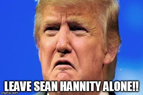 Donald trump crying |  LEAVE SEAN HANNITY ALONE!! | image tagged in donald trump crying | made w/ Imgflip meme maker