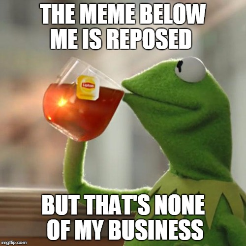 But Thats None Of My Business Meme | THE MEME BELOW ME IS REPOSED BUT THAT'S NONE OF MY BUSINESS | image tagged in memes,but thats none of my business,kermit the frog | made w/ Imgflip meme maker