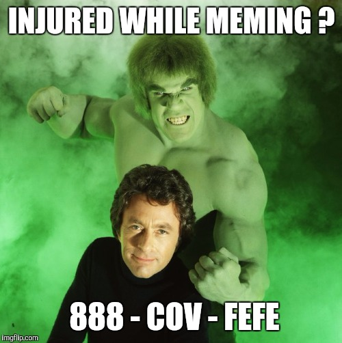 INJURED WHILE MEMING ? 888 - COV - FEFE | image tagged in memes | made w/ Imgflip meme maker