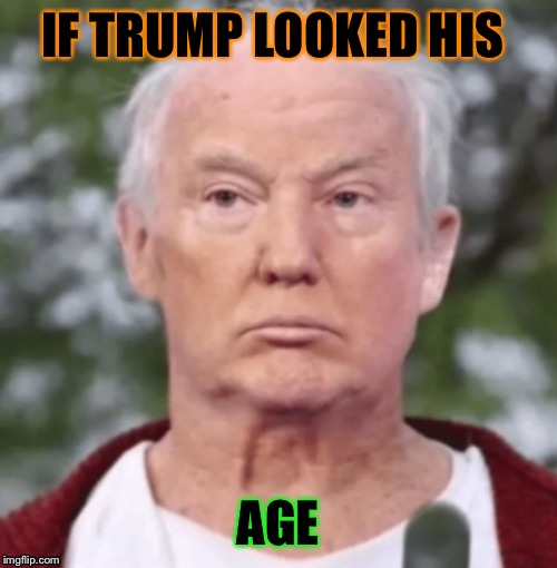 Trump | IF TRUMP LOOKED HIS AGE | image tagged in trump,old | made w/ Imgflip meme maker