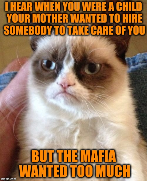 Grumpy Cat Meme | I HEAR WHEN YOU WERE A CHILD YOUR MOTHER WANTED TO HIRE SOMEBODY TO TAKE CARE OF YOU BUT THE MAFIA WANTED TOO MUCH | image tagged in memes,grumpy cat | made w/ Imgflip meme maker