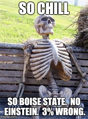 Waiting Skeleton Meme | SO CHILL SO BOISE STATE.  NO EINSTEIN.  3% WRONG. | image tagged in memes,waiting skeleton | made w/ Imgflip meme maker