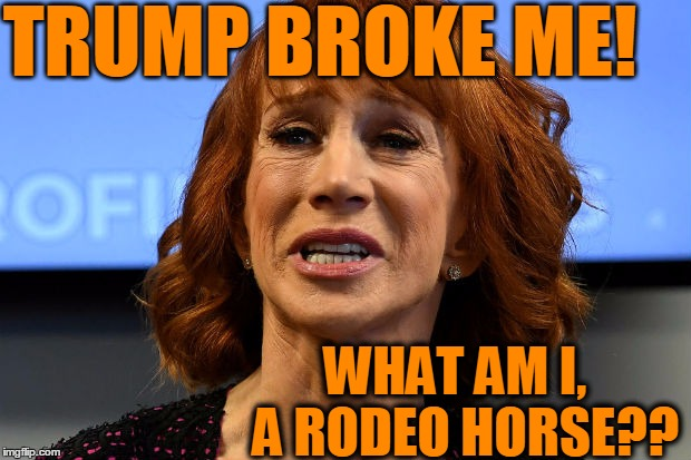 Poor Kathy Griffin,  broken! | TRUMP BROKE ME! WHAT AM I,  A RODEO HORSE?? | image tagged in kathy griffin,crying | made w/ Imgflip meme maker