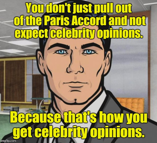 Archer Meme | You don't just pull out of the Paris Accord and not expect celebrity opinions. Because that's how you get celebrity opinions. | image tagged in memes,archer | made w/ Imgflip meme maker