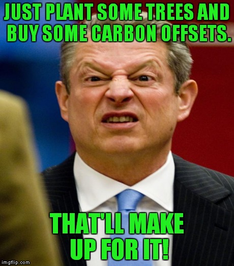 JUST PLANT SOME TREES AND BUY SOME CARBON OFFSETS. THAT'LL MAKE UP FOR IT! | made w/ Imgflip meme maker