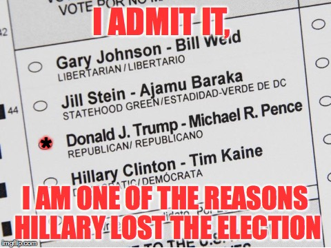 I'm NOT with Her!  | I ADMIT IT, I AM ONE OF THE REASONS HILLARY LOST THE ELECTION * | image tagged in hillary,lost election,reason,treason | made w/ Imgflip meme maker