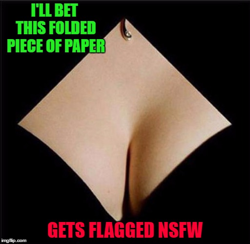 Just getting punished for YOUR dirty minds!!! | I'LL BET THIS FOLDED PIECE OF PAPER GETS FLAGGED NSFW | image tagged in folded piece of paper,memes,perception,funny,not nsfw,dirty minds | made w/ Imgflip meme maker