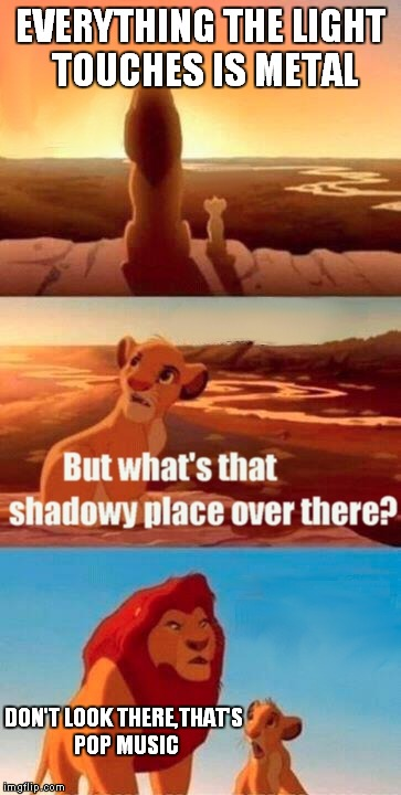 Simba Shadowy Place Meme | EVERYTHING THE LIGHT TOUCHES IS METAL DON'T LOOK THERE,THAT'S POP MUSIC | image tagged in memes,simba shadowy place | made w/ Imgflip meme maker