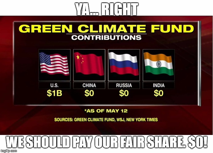 YA... RIGHT WE SHOULD PAY OUR FAIR SHARE. $0! | image tagged in green climate fund | made w/ Imgflip meme maker