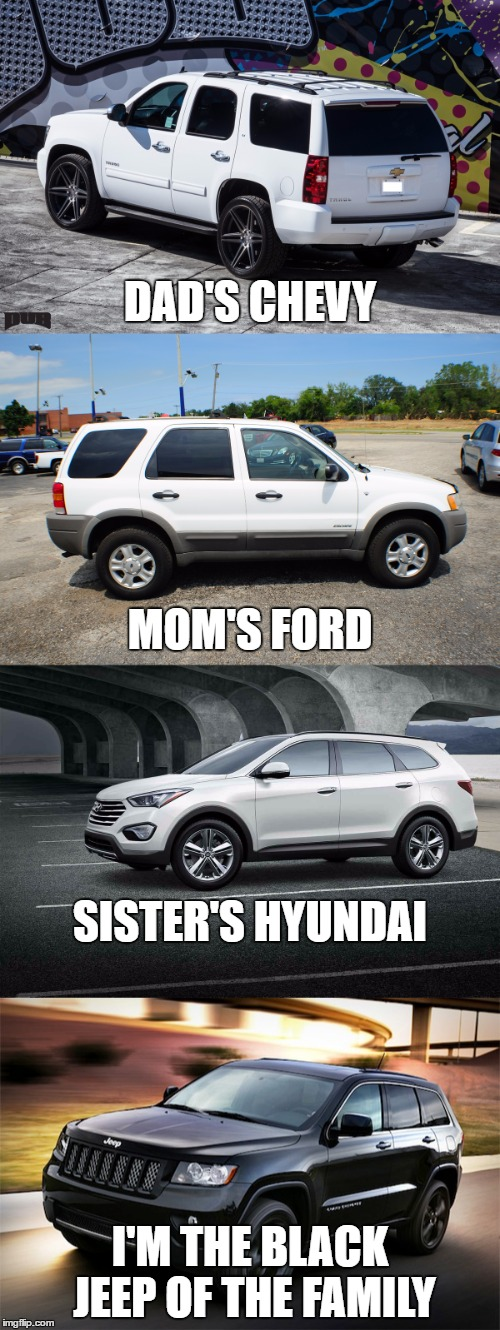 DAD'S CHEVY I'M THE BLACK JEEP OF THE FAMILY MOM'S FORD SISTER'S HYUNDAI | image tagged in memes,family,chevy,ford,hyundai,jeep | made w/ Imgflip meme maker