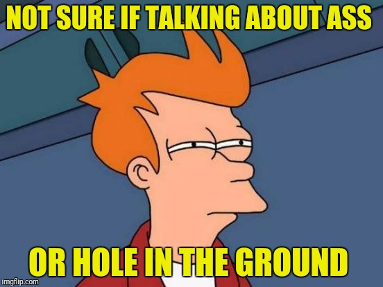 Futurama Fry Meme | NOT SURE IF TALKING ABOUT ASS OR HOLE IN THE GROUND | image tagged in memes,futurama fry | made w/ Imgflip meme maker