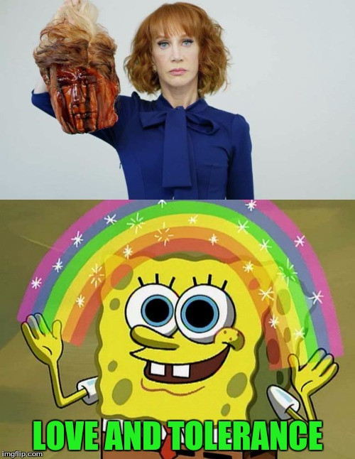 It's great how well we get along isn't it? | LOVE AND TOLERANCE | image tagged in kathy griffin,kathy griffin isis,donald trump,liberals,tolerance,imagination spongebob | made w/ Imgflip meme maker
