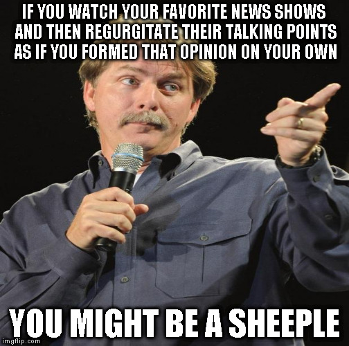 Too many people do this | IF YOU WATCH YOUR FAVORITE NEWS SHOWS AND THEN REGURGITATE THEIR TALKING POINTS AS IF YOU FORMED THAT OPINION ON YOUR OWN YOU MIGHT BE A SHE | image tagged in memes,jeff foxworthy,sheeple,liberals,conservatives | made w/ Imgflip meme maker