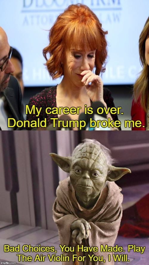 Seriously, what did she expect?  | My career is over. Donald Trump broke me. Bad Choices, You Have Made. Play The Air Violin For You, I Will. | image tagged in kathy griffin tolerance,kathy griffin,donald trump,yoda,memes | made w/ Imgflip meme maker