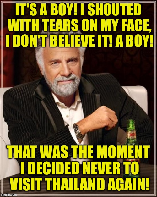 What happened in Thailand stays in Thailand  |  IT'S A BOY! I SHOUTED WITH TEARS ON MY FACE, I DON'T BELIEVE IT! A BOY! THAT WAS THE MOMENT I DECIDED NEVER TO VISIT THAILAND AGAIN! | image tagged in memes,the most interesting man in the world,funny | made w/ Imgflip meme maker