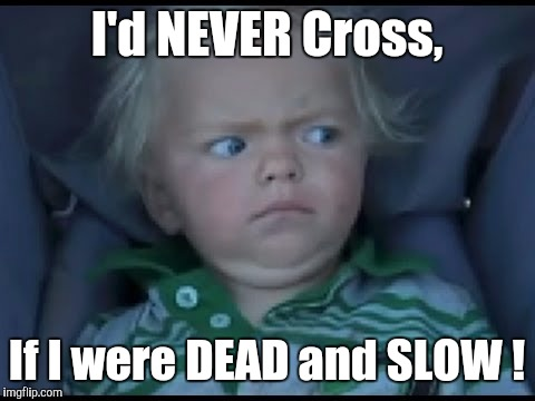 Don't Tell Me... | I'd NEVER Cross, If I were DEAD and SLOW ! | image tagged in don't tell me | made w/ Imgflip meme maker