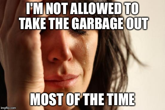 First World Problems Meme | I'M NOT ALLOWED TO TAKE THE GARBAGE OUT MOST OF THE TIME | image tagged in memes,first world problems | made w/ Imgflip meme maker