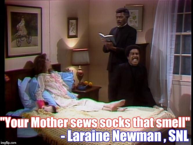 "The Ghost of TV past would like to express it's disdain for Kathy Griffin | ""Your Mother sews socks that smell"" - Laraine Newman , SNL 