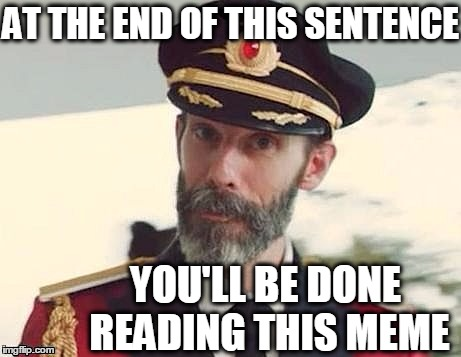 Captain Obvious | AT THE END OF THIS SENTENCE YOU'LL BE DONE READING THIS MEME | image tagged in captain obvious | made w/ Imgflip meme maker