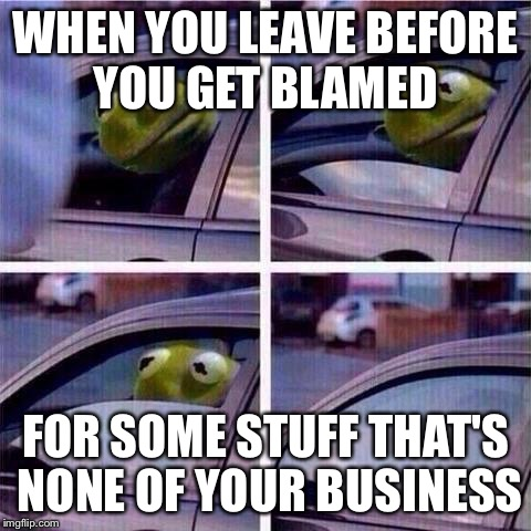 Kermit window roll up | WHEN YOU LEAVE BEFORE YOU GET BLAMED FOR SOME STUFF THAT'S NONE OF YOUR BUSINESS | image tagged in kermit window roll up | made w/ Imgflip meme maker