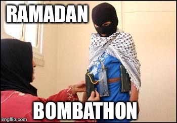 It's a blast! | RAMADAN BOMBATHON | image tagged in child muslim suicide bomber,radical islam,ramadan | made w/ Imgflip meme maker