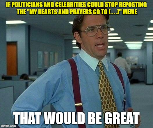 "That Would Be Great Meme | IF POLITICIANS AND CELEBRITIES COULD STOP REPOSTING THE ""MY HEARTS AND PRAYERS GO TO [ . . .]"" MEME THAT WOULD BE GREAT 