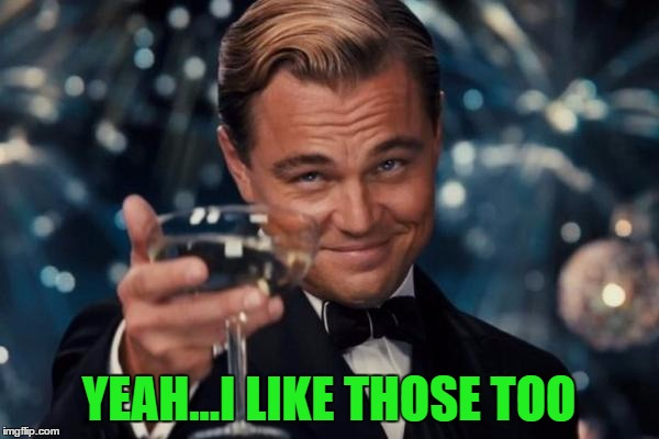 Leonardo Dicaprio Cheers Meme | YEAH...I LIKE THOSE TOO | image tagged in memes,leonardo dicaprio cheers | made w/ Imgflip meme maker