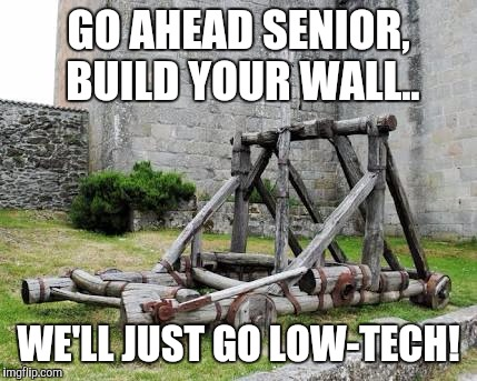 Borderwars |  GO AHEAD SENIOR, BUILD YOUR WALL.. WE'LL JUST GO LOW-TECH! | image tagged in catapult,trump,memes,build a wall,mexico,illegal immigration | made w/ Imgflip meme maker