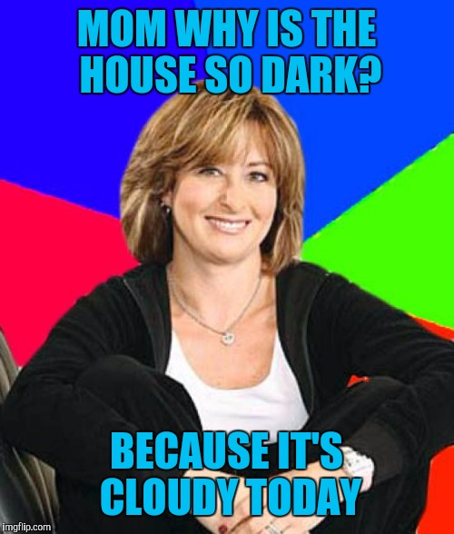 Electricity saving sheltering suburban mom | MOM WHY IS THE HOUSE SO DARK? BECAUSE IT'S CLOUDY TODAY | image tagged in memes,sheltering suburban mom | made w/ Imgflip meme maker